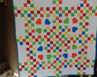 Baby Quilt, Baby Nines Quilt, Applique Quilt, primary color Quilt, 0128-02