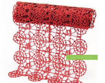 """Red Sequin Lace Table Runner 