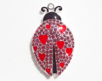 49mm*28mm Red and Black Lady Love Bug Rhinestone and Enamel Pendant, Statement Piece