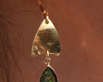 Bezel set Ammolite Gold Petal Earrings
