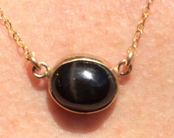 Black Star Gold Open Bezel Necklace