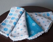 Boy Wash Cloth Set - Elephants - Polka Dots - Gray and Blue - Baby Washcloths - Baby Gift Under 20