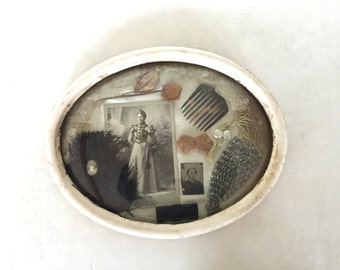 Antique reliquary shadowbox or wedding memory box case