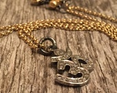 MIxed Metals - Pave Diamond OM Charm - 14 k GF Tiny Rolo Chain - Wire Wrapped Hand Made - Rustic Sundance Style Jewelry