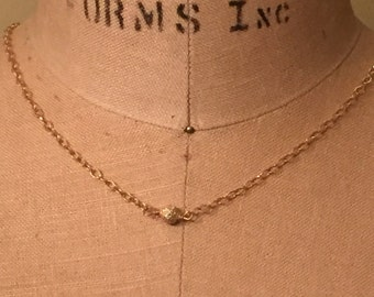 14 K Solid Gold Pave Diamond Bead Necklace - Rustic Handmade Artisan Gold Jewelery - Sundance Style Jewelry - Fine Jewelry