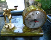 neat clean 1940s 1950s greenish swirl CATALIN BAKELIGHT BOWLING clock