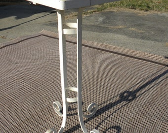 nice shape vintage 1940s 1950s sturdy strong TILE TOP and wrought iron PLANT stand table