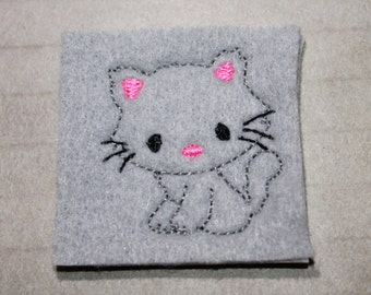 Full body Kitten/cat feltie, gray kitty with neon pink in ears/nose felt, 4 pieces for hair accessories, scrap booking or crafts