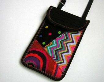 iPhone 6 Case Cellphone Neck Pocket Smartphone Purse Crossbody-Neck Cover Small Shoulder Cute Mini Sling Bag mixed fabrics  black-colorful