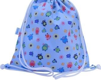 Owl Waterproof Backpack, Swim Bag, Rucksack, Drawstring Bag