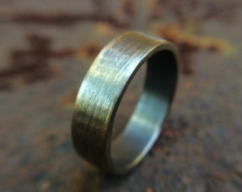 Rustic gold ring etsy 6mm gold brass wedding band in rustic brushed gunmetal finish thick chunky brass ring junglespirit Image collections