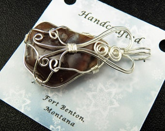 Wire Wrapped Stone Pendant - Wire Wrapped Stone Jewelry - Natural Stone Pendant - Costume Jewelry - Handmade In Montana USA - Free Shipping