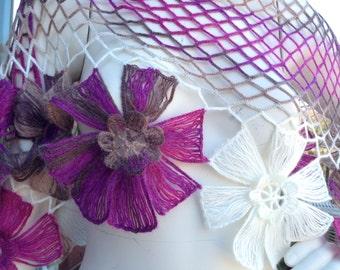 SaLE! Crochet Shawl,Net Floral Shawl,Triangular,Elegant Chic Shawl,FREE Shipping in US,Pink White Multi Color Shawl,You Will LOVE It!