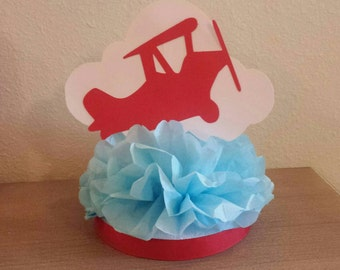 Vintage Airplane Centerpiece 1st birthday party or baby shower table decor