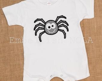 Spider Applique Halloween Romper