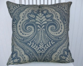 Blue White Ikat Floral/Paisley- Decorative Cotton Throw Pillow Cover- 18x18 or 20x20 or 22x22- Pillow Cover- Accent Pillow Cover
