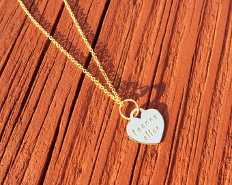Personalized Heart Necklace Hand Stamped 14k Gold Fill Heart Pendant on 14k Gold Fill Cable Chain FREE SHIPPING
