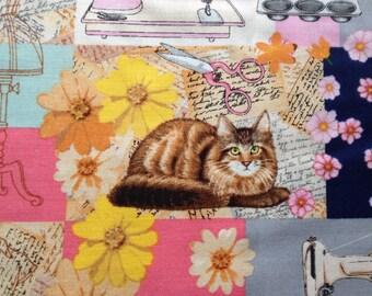 Retro Sewing Patch Cotton Fabric Cat Baking Mixer Machine Dressmaking Fat Quarter/Metre FREE UK POSTAGE
