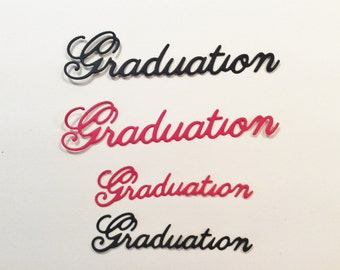 "Graduation, Word, Handmade, Red, Black, 2 3/4"", 3 3/4"""
