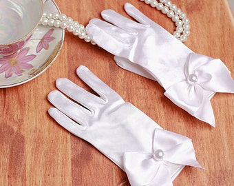 Girls Tea Time White Satin Gloves Shorty's