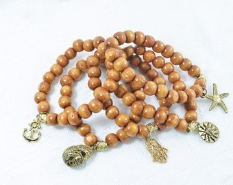 Wooden beads with charm