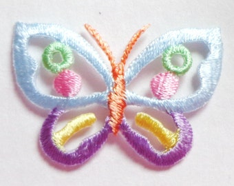BUTTERFLY-OPEN PASTEL iron on applique 1 1/2 X 1
