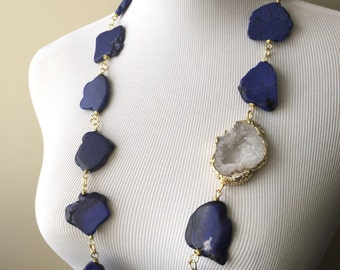Blue, White and Gold Agate Druzy Statement Necklace II - Serena Van Der Woodsen Inspired Necklace - Gossip Girl Necklace - Boho Collection