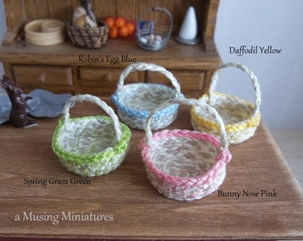 Your Choice Springtime Basket in 1:12 Scale for Dollhouse Miniature Easter Roombox