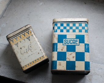 Vintage French Tins // French Kitchen Storage // Sugar & Coffee  Tin