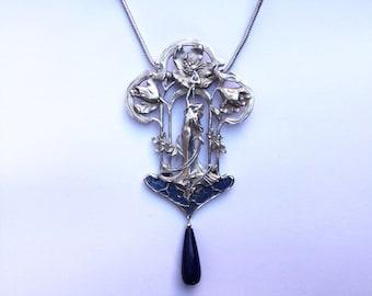 Art Nouveau Necklace with Enamel and Lapis Drop