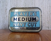 Vintage Tobacco Tin by Player's Medium Navy Cut * NAUTICAL * vintage cigarette tin, storage box