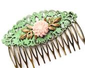Wedding Hair Comb Blush Pink Mint Green Bridal Hair Slide Bridesmaids Headpiece Dreamy Romantic Ethereal Hair Pin