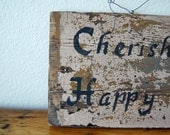 Vintage Painted Barnwood Sign, Vintage Cottage Chic Painted Home Decor, Vintage Pink Barnwood from The Eclectic Interior