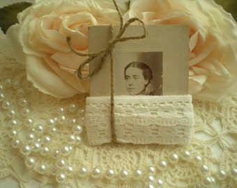 SALE...Vintage White Lace Trim On Antique Photo For Display Or Crafts From SincerelyRaven On Etsy
