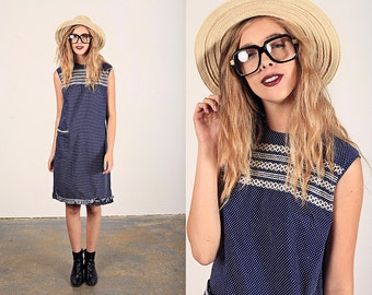 Vintage 60s Polka Dot Dress Blue Smocked Sleeveless Shift Dress