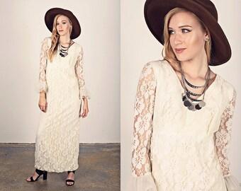 Vintage 60s Lace Dress White Long Sleeve Ruffle Wedding Dress