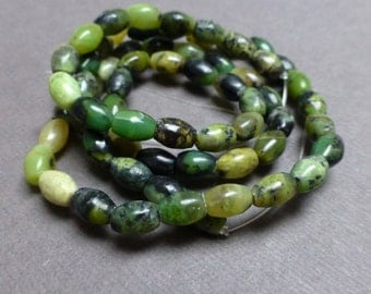Yellow Turquoise Rice Beads. Green. Yellow. Gemstone Beads. Approx. 6mm x 4mm. Full Strand (16 inch).