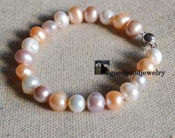 pearl bracelets,9-10mm Freshwater Pearl Bracelet,wedding bracelet,bridesmaid bracelet,real pearl bracelet,white pink lavender pearl bracelet