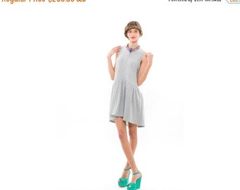SALE 50% OFF 50 Percent OFF, Grey Womens Fashion Dress,Sleeveless Dress, Full Skirt and Relaxed Silhouette, Everyday  Dress