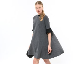 Swing dress with Ruffle Sleeves, relaxed silhouette A line dress, Rising Summer Sun Dress