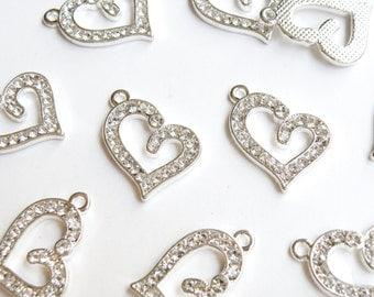 5 Heart rhinestone charms antique silver finish 22x16mm PRSB509