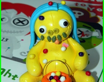 Miss Lucy Lemon.  Miniature Baby TrickorTreataling. Hand Sculpted polymer clay figurine