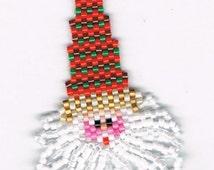 Hand Beaded Santa with Loopy Beard dangling earrings