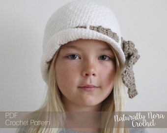 Crochet Pattern: The Kit Cloché -Toddler, Child, & Adult Sizes- Bow