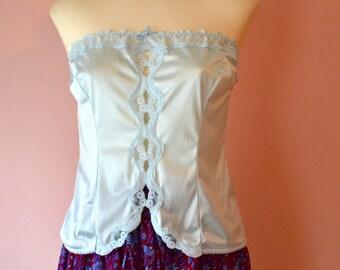 Vintage Lingerie.  Strapless Blue Camisole by Warner's Frosting.  Size 34 Modern Small Medium.  - VL388
