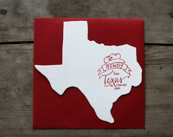 Texas-Shaped, Howdy from Texas Letterpress Card