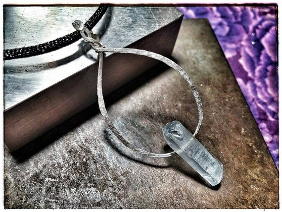 Silver Hammered Pendant with Aurora Borealis Grey Crystal (genuine silver)