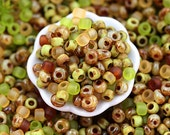 10g Toho Seed Beads Mix - Enchanted Forest - MayaHoney Special Mix, 8/0 size, Olivine, Green rocailles - S1027