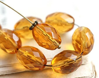 Topaz Large Olive shaped beads, czech fire polished oval beads, 13x10mm - 6Pc - 2512