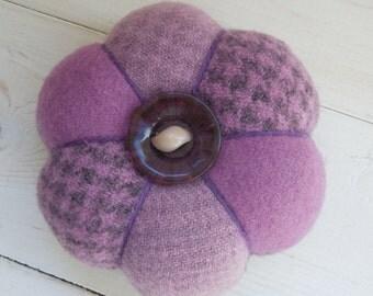 Pincushion - Felted Wool - Purple Mauve  - Vintage  Celluloid Button